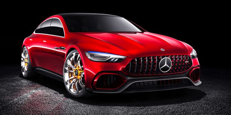 front view red mercedes concept car